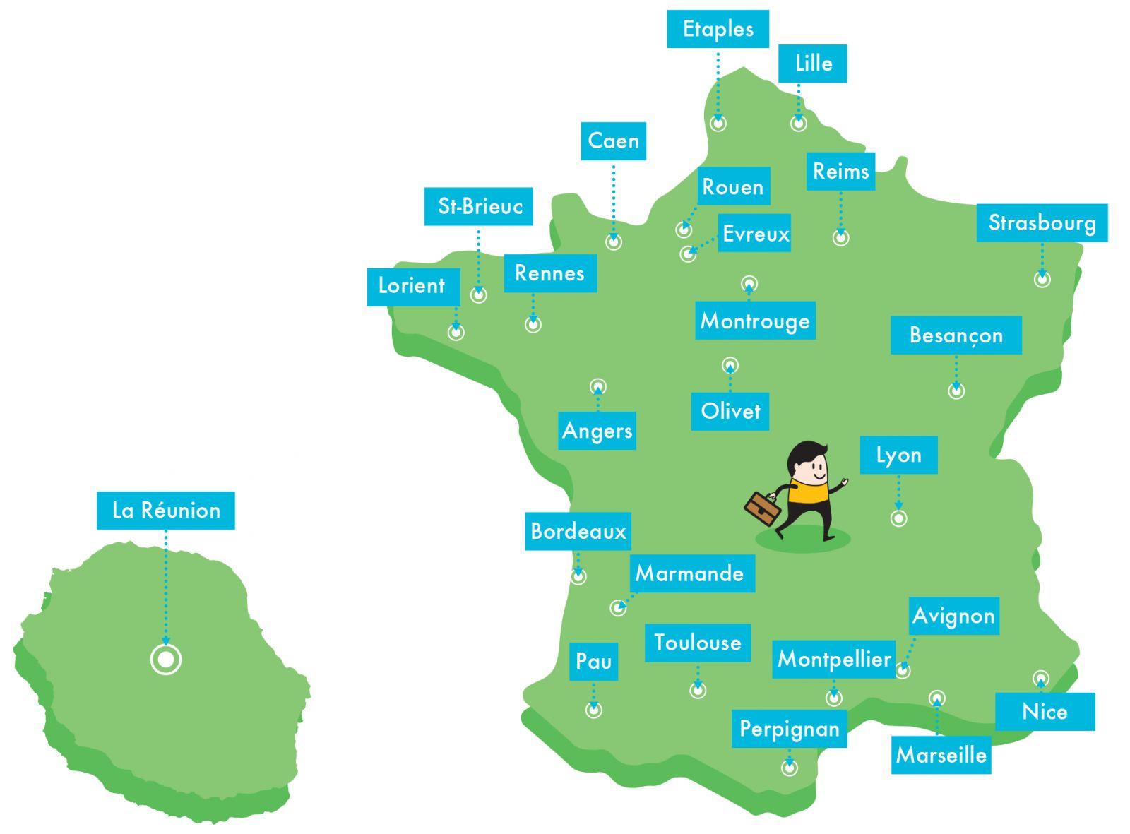 Carte des centres de formation OASIS Handicap